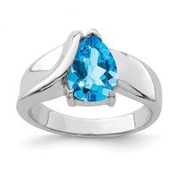Sterling Silver Aquamarine CZ Ring