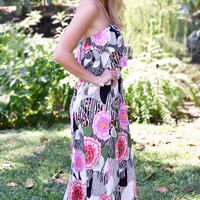 In Bloom Floral Strapless Maxi Dress