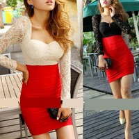Lace Sleeve and Top Bodycon Dress