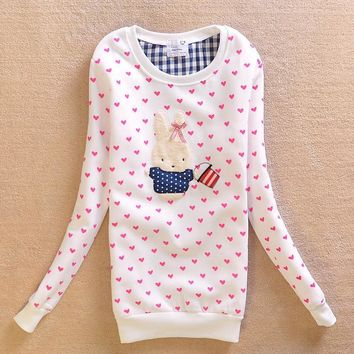 Embroidery Autumn Round-neck Pullover Long Sleeve Cartoons Thicken Tops Hoodies [9036922316]