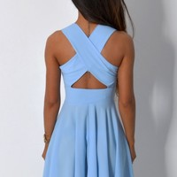 Aryn Pastel Blue Crossover Back Skater Dress | Pink Boutique