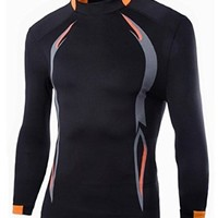 jeansian Men's Sport Elastic Fitness Quick Dry Long Sleeves T-Shirts Tops D611