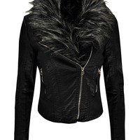Kate Faux Fur Collar Faux Leather Biker Jacket