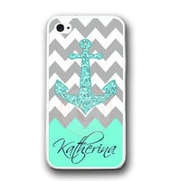 Personalized Grey Chevron Mint Anchor iPhone Case -Rubber iPhone 4 / 4S / 5 Case