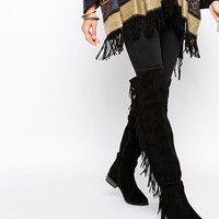 Boohoo Over The Knee Fringe Detail Boots