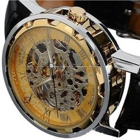 Voberry® Classic Men's Leather Dial Skeleton Mechanical Sport Army Wrist Watch (Gold) (Brown)