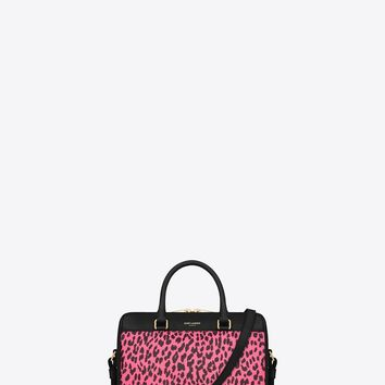 Saint Laurent CLASSIC BABY DUFFLE BAG IN Black And Neon Pink Babycat Printed Leather | ysl.com
