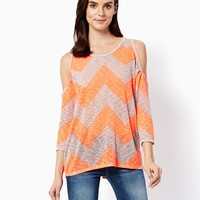 Chevron Cold Shoulder Top | Fashion Apparel and Clothing - Tops | charming charlie