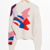 & Other Stories | Cropped Color Splash Sweater | Off white