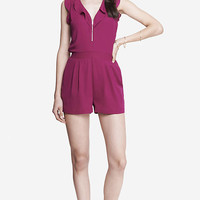 PINK RUFFLE FRONT ROMPER from EXPRESS