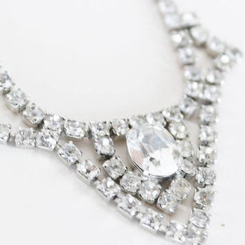 Vintage 50s Necklace / 1950s Pointed Rhinestone Rhodium Plated Necklace