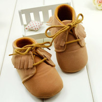 Baby Firsts Soft Bottom Sole Brown Moccasin Boots