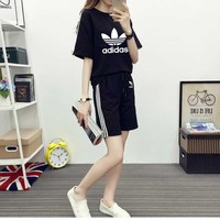 """Adidas"" Fashion Casual Clover Letter Print  Stitching Short Sleeve Set Two-Piece Sportswear"