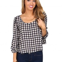 Don't Stop The Party Ivory And Black Gingham Blouse   Monday Dress Boutique