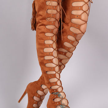 Suede Peep Toe Tassel Over-The-Knee Lace-Up Boots