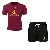NIKE Jordan Summer New Fashion Letter People Print Women Men Sports Leisure Top And Shorts Two Piece Suit Burgundy