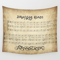 Vintage Amazing Grace Wall Tapestry by Quote Life Shop