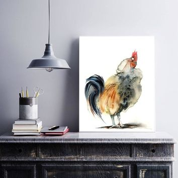 Modern Rooster Watercolor Painting of Bird Modern Wall Art Print Living Room Decoration Poster Unfromed