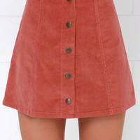 Attagirl Rust Red Corduroy A-Line Skirt