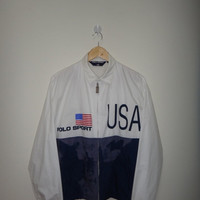 30% New Year Sale Vintage Polo Ralph Lauren USA Flag Jacket 92 93 Polo Sport Jacket Heavy Used Condition Nice Design Hip Hop Rappers P wing