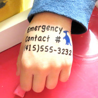 20 Kid Safety Tattoo Emergency Contact for Disneyland, fairs, festivals, malls