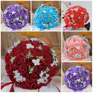 Pugster New Stylish PE Flower Pearl Butterfly Bridal Wedding Floral Bouquet