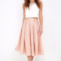 Without Question Blush Midi Skirt