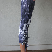 Revolt Navy Splatter Print Criss Cross Tie Up Capri