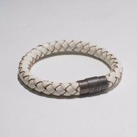Braided Passage Genuine Leather Bracelet in Ivory