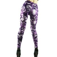 Amour -Gothic Punk Sexy Skull Print Leggings Tights Pants (Purple)