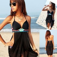 Cross Front Sheer Bohemian Swimwear Tankini Bikini Set Bathing Suit Swimsuit
