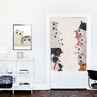 "Japanese Noren Doorway Curtain Tapestry 33.5"" Width x 47.2"" Long, Cat Family"