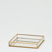 Gold Mirrored Square Tray, Gold
