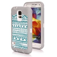 S5 Case, Galaxy S5 Case, SGM Dual Layer Protection High Impact Hybrid Armor Case For Samsung Galaxy S5/SV (Compatible with Verizon, AT&T, Sprint, T-Mobile Versions) - (Gray + White (Tribal))