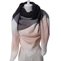 Triangular Scarf in Ballet Pink and Charcoal