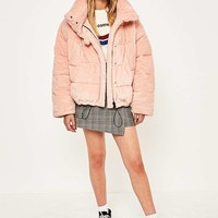 Light Before Dark Pink Teddy Puffer Jacket | Urban Outfitters