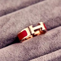 ac NOVQ2A HERMES Gold-plated 18-karat rose gold ring width h-letter titanium ring gold ring