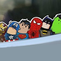 Cute Car stickers safety warning racing decal docer body reflective save world hero cartoon wry crooked neck home office art avengers