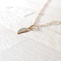Tiny Gold Filled Leaf Necklace, Gold filled leaf necklace - Delicate gold necklace -  Leaf Jewelry, Leaf necklace, Leaf charm necklace