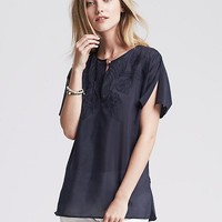 Embroidered Voile Top