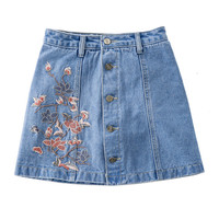 New Women Skirts Flower Embroidery skirt High Waist Jeans Button Embroidered Female Casual Mini skirts BX 057