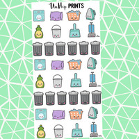 Cleaning Stickers, Planner Stickers, Kawaii Cleaning Stickers, Kawaii Stickers, Cute Stickers, Chore Stickers, To Do Stickers (#173)