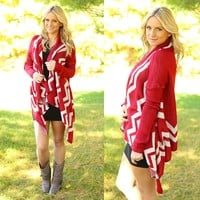 Thunder & Lightning Chevron Cardigan in Burgundy