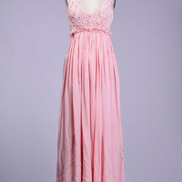 Cross Back Candied Petals Maxi Dress