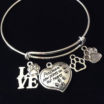 Custom Pets Leave Paw Prints on our Heart Charm on a Silver Expandable Adjustable Wire Bangle Bracelet Meaningful Gift Animal Lover Gift