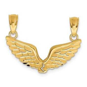 14k Yellow Gold Break Apart Angel Wings Pendants