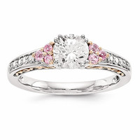 14k Two-Tone Semi-Mount W/Pink Sapphire Engagement Ring