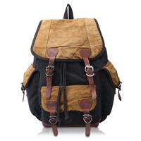 Kattee Canvas Leather Backpack School bag Hiking Travel Rucksack
