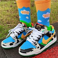 Nike SB dunk Low help pattern color-blocking low-top men's and women's sneakers Shoes 1