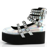 Holographic Silver Strappy Mary Jane Rave Shoes